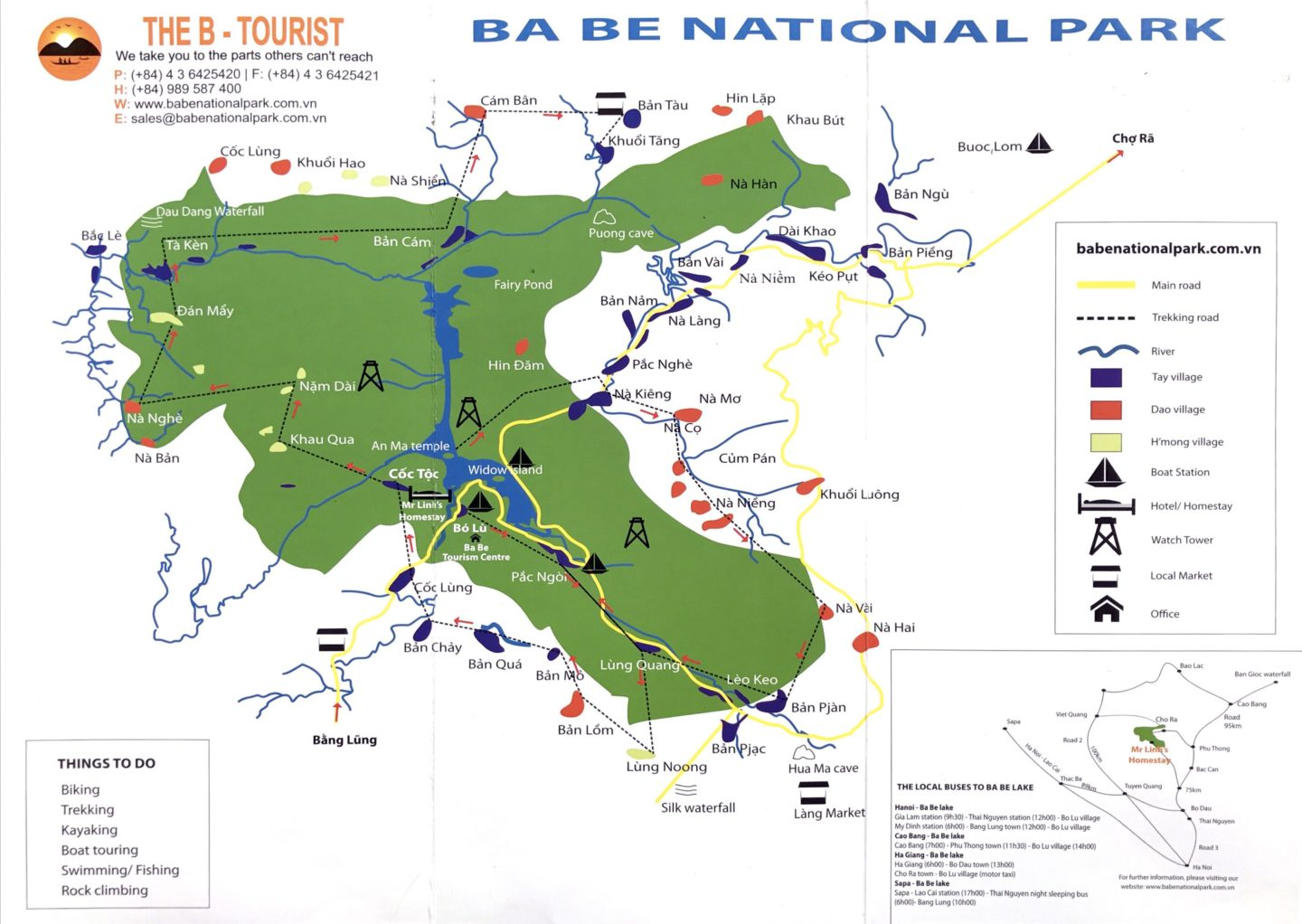 Ba Be National Park Map Hiking Trekking