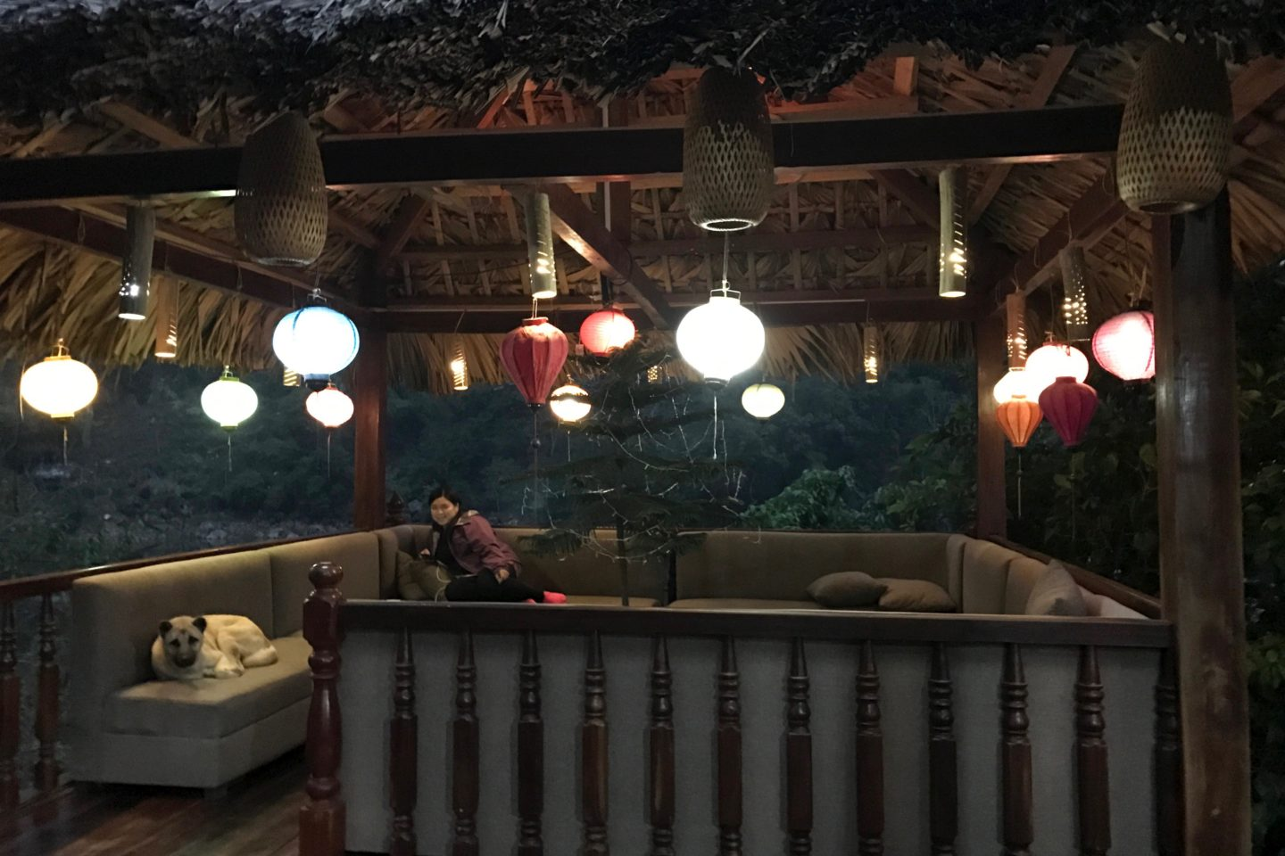 Mr. Linh resting area with lanterns