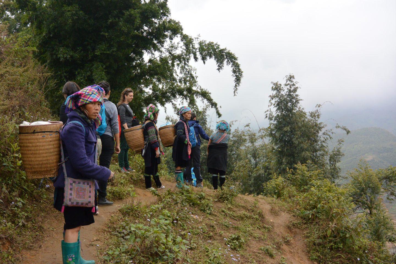 Hmong women hike in Sapa