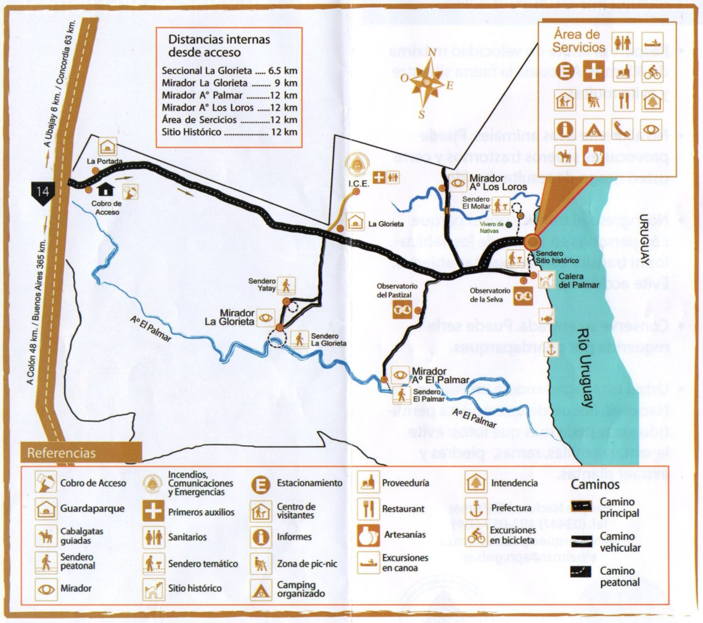 El Palmar National Park official map with trails