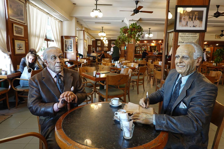 Sculpture of the writers Jorge Luis Borges (left) y Adolfo Bioy Casares (right) in Café La Biela, Recoleta