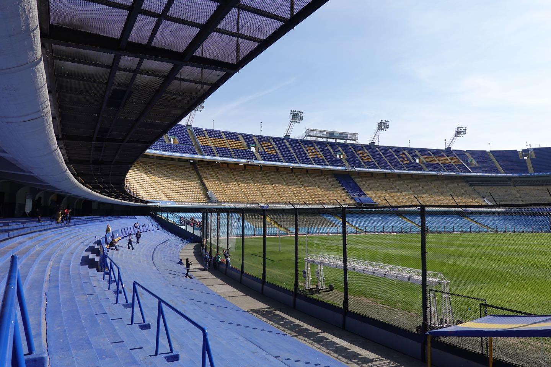 "Inside Boca Junios football stadium ""La Bombonera""."