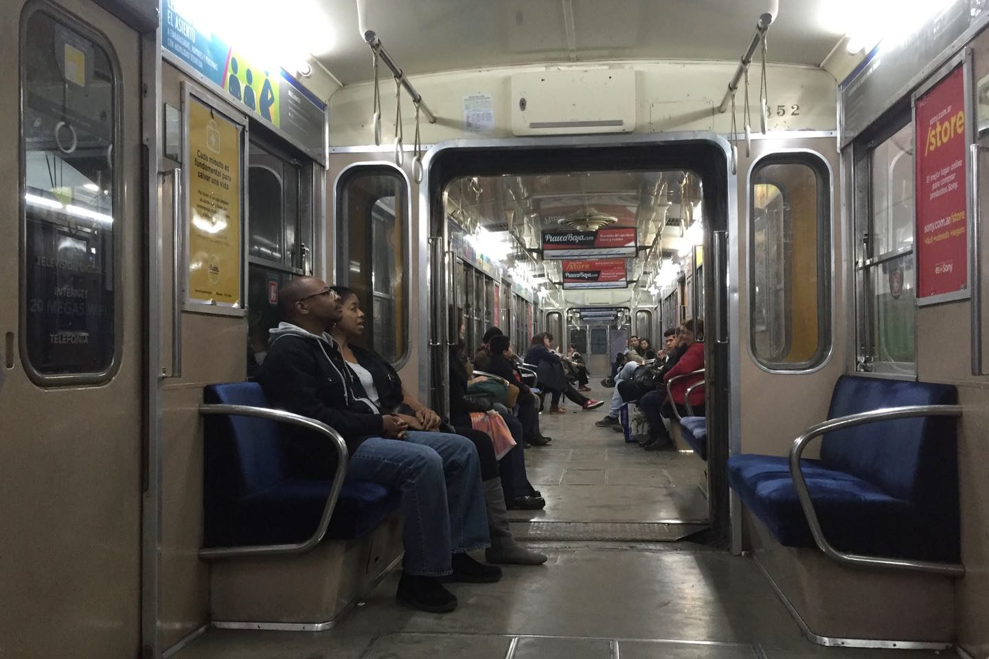 Transportation in Buenos Aires. Subways are easy to use but not always this empty.
