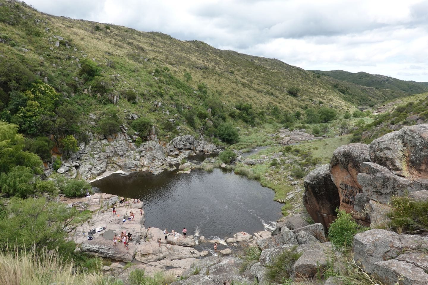Panoramic view from the natural pool on the Cascada de Olaen.