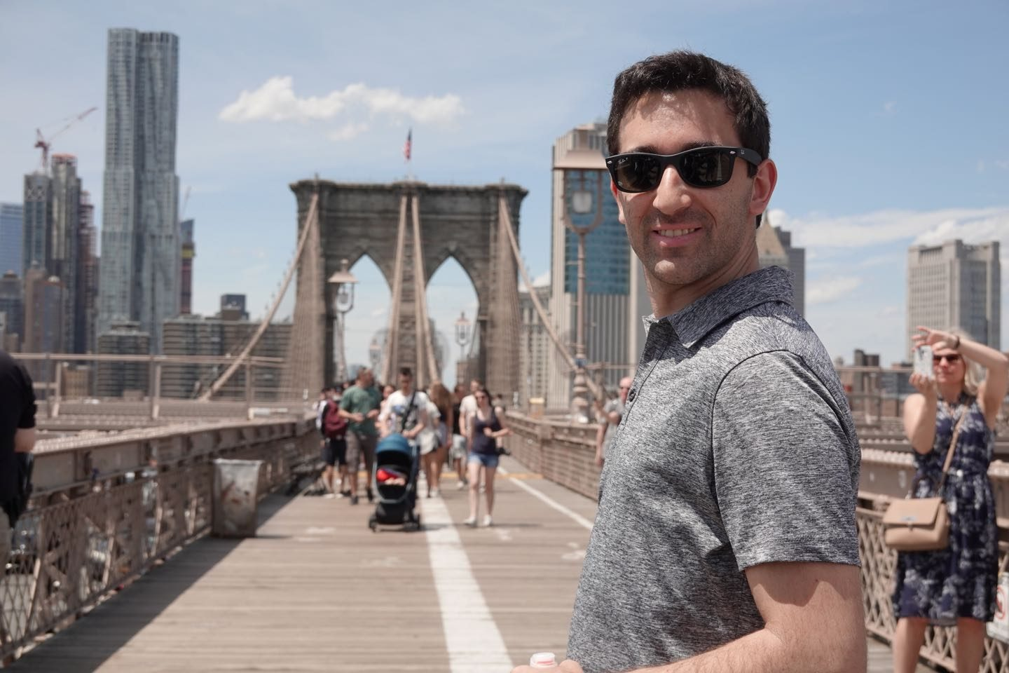 Selfies en el Brooklyn Bridge.