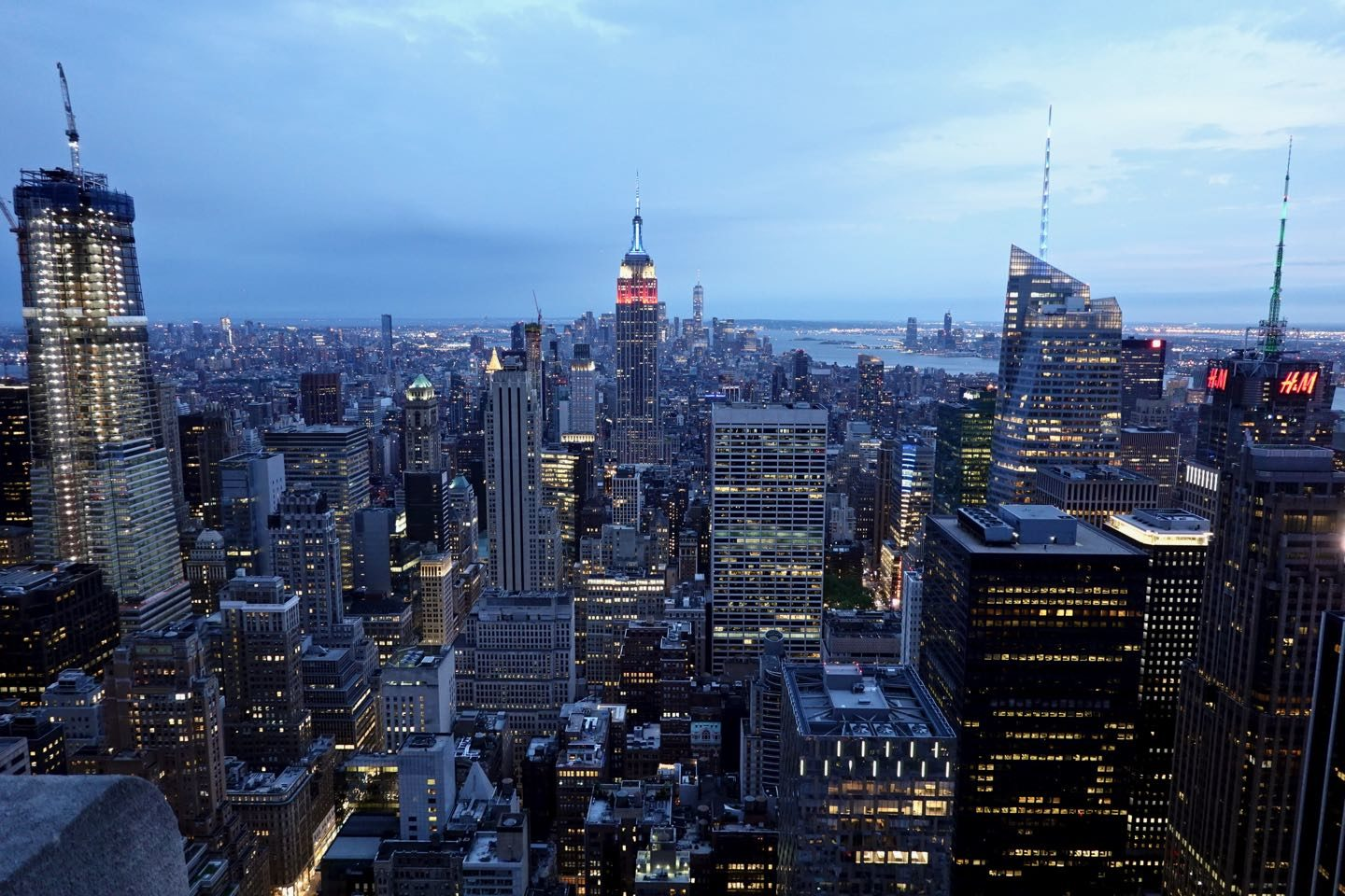 Panoramic view of NYC from Top of the Rock Observatory at dusk.