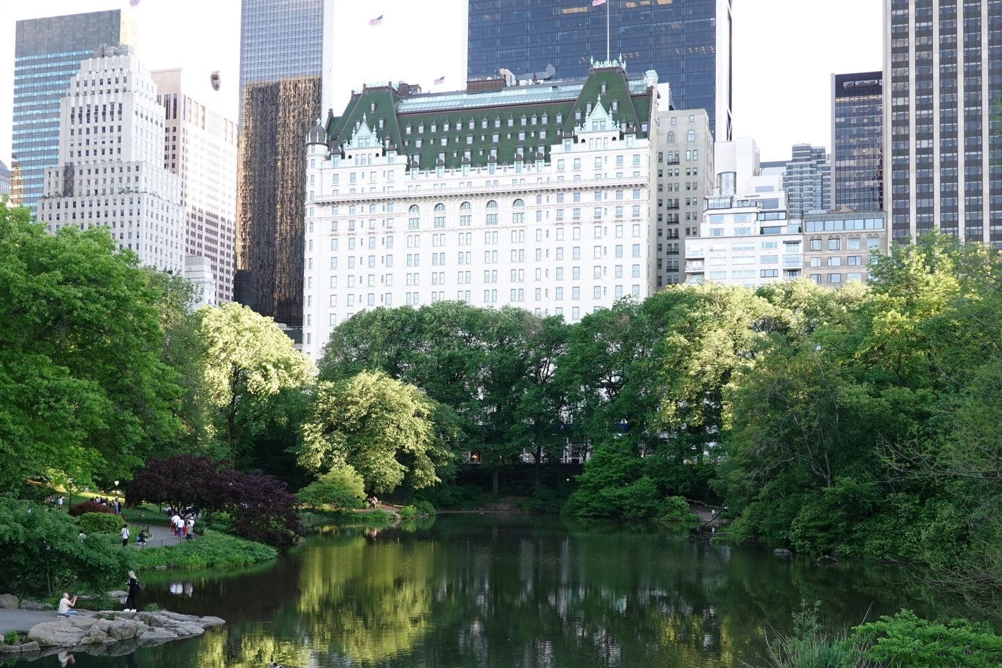 Lovely view in NYC. Plaza Hotel viewed from the Gapstow Bridge, Central Park.