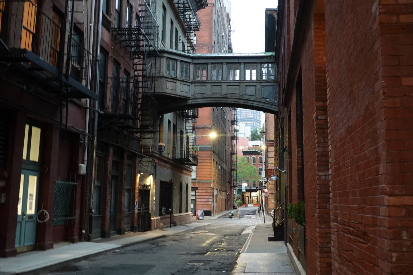 Hidden places of NYC. Staple Street Skybridge in Tribeca.