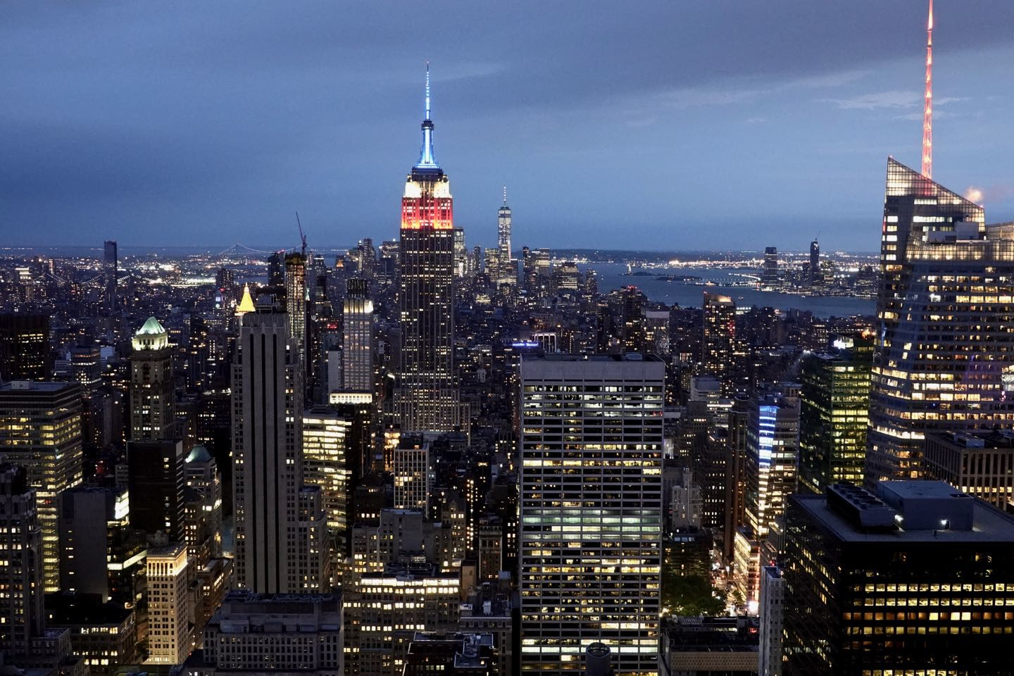 Best views of NYC. Top of the Rock Observatory at night.