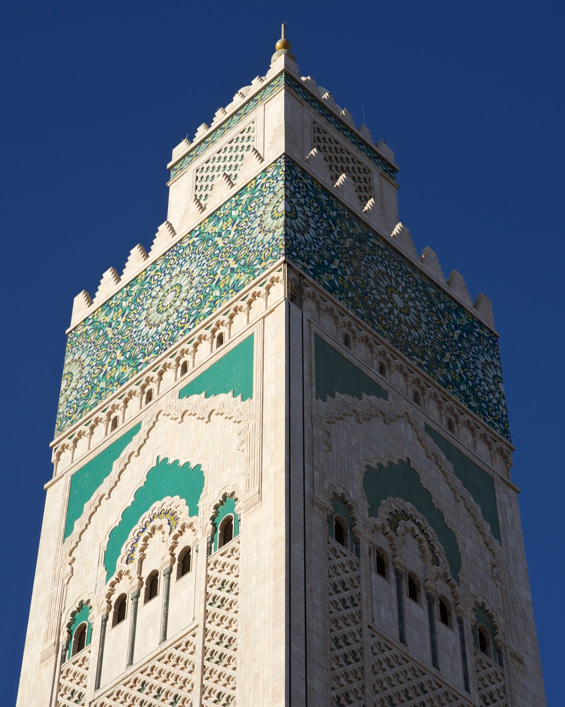 Fine details on the tower of the Hassan II Mosque of Casablanca.