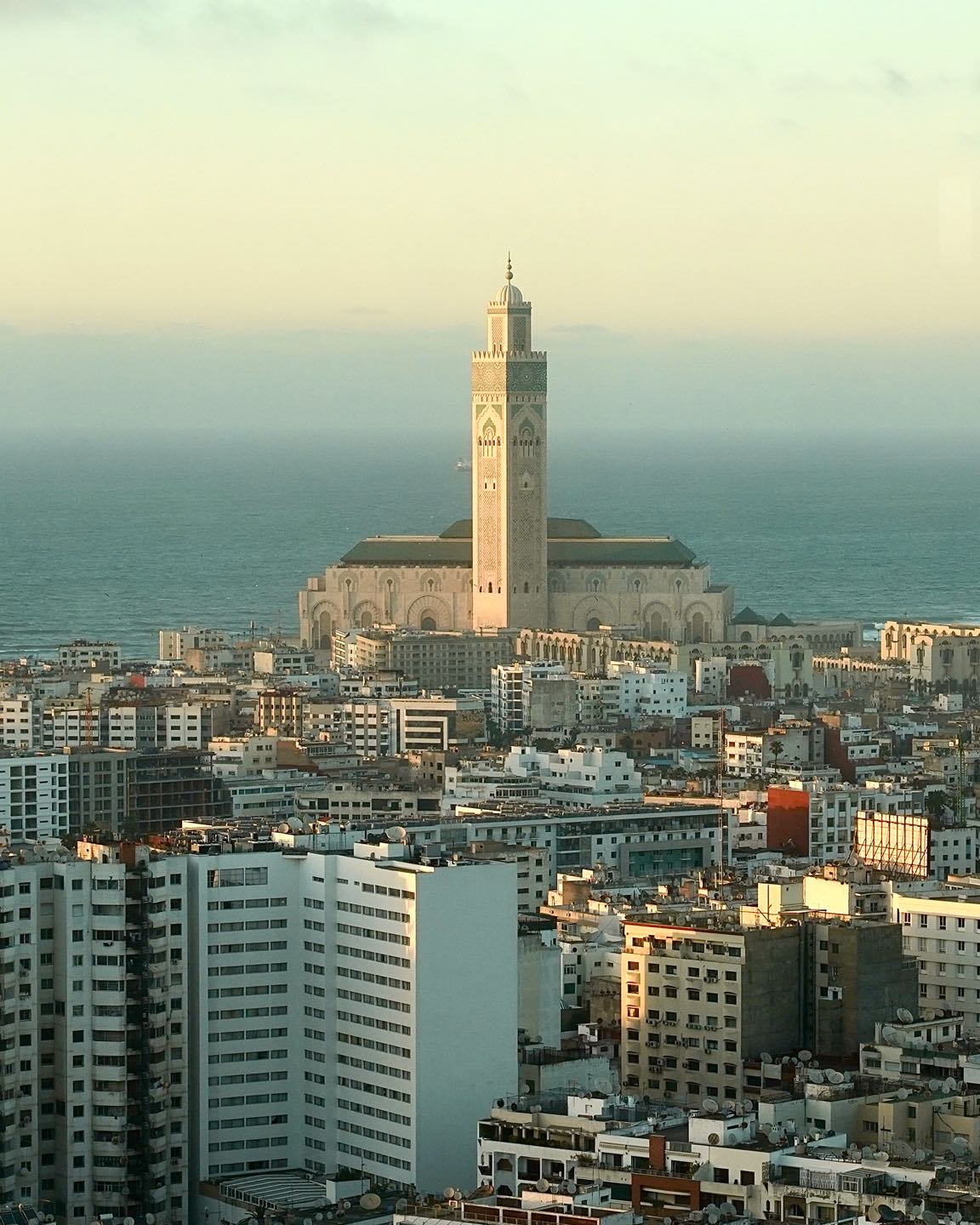 Panoramic view of Casablanca and the Hassan II Moque at sunset. Best views of Casablanca.