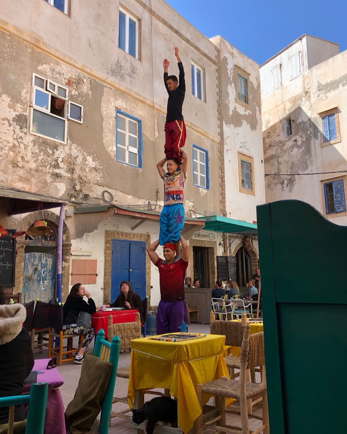 Streets performers outside Taraa Café, one of the best areas for lunch in Essaouira.