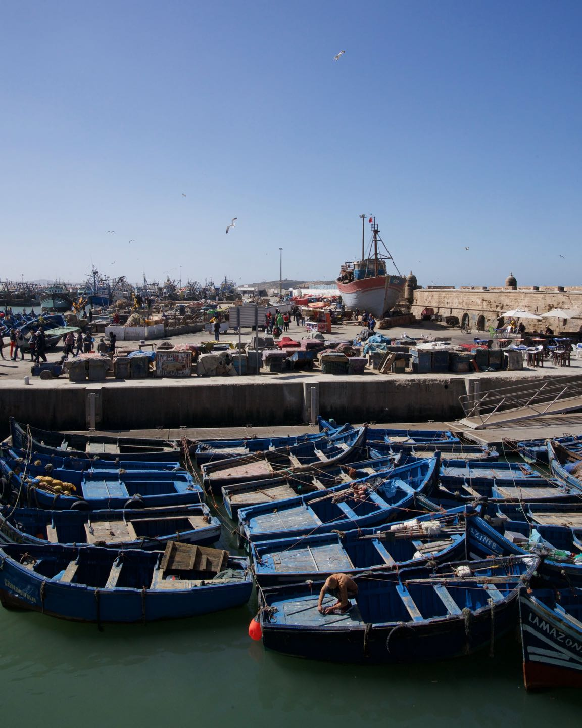Fishing wooden boats on the Port of Essaouira.