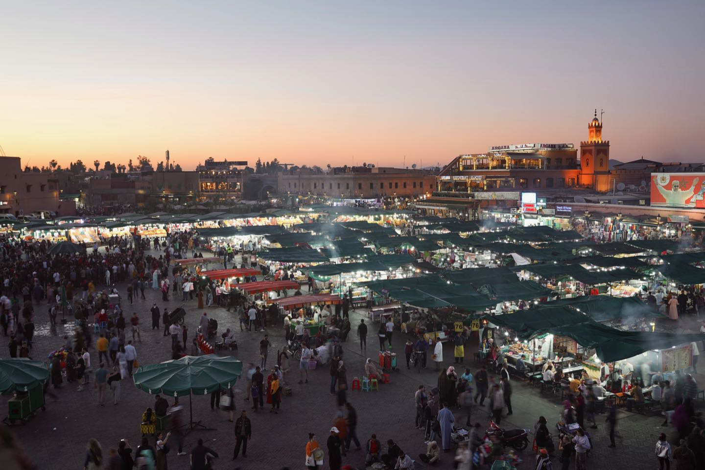 Best panoramic views of Marrakesh and Jemaa el-Fnaa market.